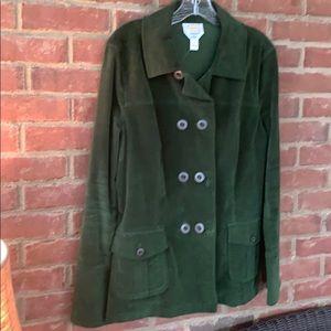 Talbots Green double breasted velvet jacket